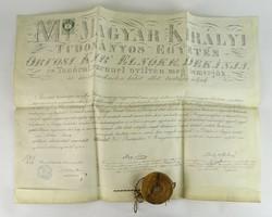 0W040 Antik bábadiploma viaszpecséttel 1878