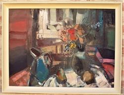 Gaál Imre Péter (1921 - 2013) Csendélet c. festménye 86x66cm EREDETI GARANCIÁVAL !!