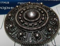 Biedermeier ezüst bross