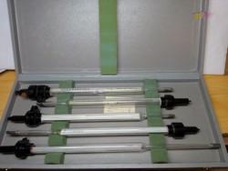Speciális higanyos hőmérő készlet sörfőző tartályokhoz antik gyári dobozos sörfőzőbe, gyűjteménybe.