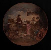 Antik festmény fatáblán, ( tempera ) XIX. vége - XX. század eleje, jelzett! Révész ?