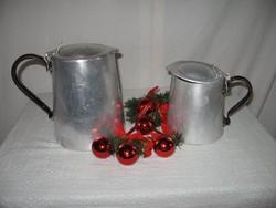 Fém - 2 db - régi - alumínium - kávés kanna - 2 liter - 1 liter - szép állapot