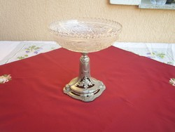 Antik szecessziós ón talpas gyümölcs kínáló eredeti üvegével,és eredet védelmi jelzéssel