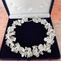 Hegyikristály nyakék, fehér természetes ásvány, kézműves ékszer, nyaklánc