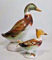 Bodrogkeresztúri kacsa páros festett kerámia figura