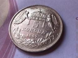 1907 ezüst 5 korona szép ,ritkább darab