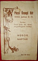 PÉCSI ÜNNEPI HÉT 1933.JUNIUS 3-11. MŰSORNAPTÁR