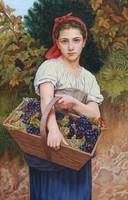 Leány szőlős kosárral