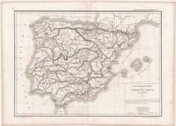 Spanyolország és Portugália térkép 1846, francia, atlasz, eredeti, 32 x 45 cm, Európa, Dussieux