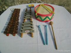 Régi játék hangszer - három darab - fellelt állapotban