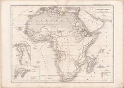 Afrika térkép 1847, francia, atlasz, eredeti, 32 x 45 cm, Dussieux, politikai, XIX. század, régi