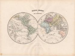 Világtérkép 1880, francia, atlasz, eredeti, 34 x 47 cm, térkép, Föld, világ, két félteke, régi