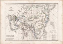 Ázsia térkép 1845, francia, atlasz, eredeti, 32 x 45 cm, Dussieux, politikai, XIX. század, régi