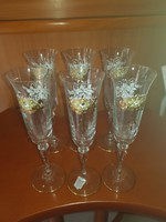 Különleges diszitésel pezsgös üveg poharak