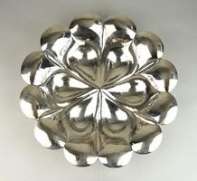 0W034 Régi kalapált ezüst gyümölcskínáló tál 530g