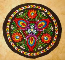 Új selyemmel filcre hímzett matyó terítő. 25 cm