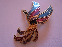 Paradicsom madár figurás tűzzománcos bross/kitűző