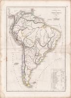 Dél - Amerika térkép 1845, francia, atlasz, eredeti, 32 x 45 cm, Dussieux, politikai, XIX. század