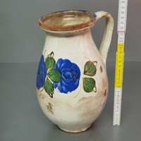 Fehér mázas, kék virágmintás kerámia tejes köcsög (639)
