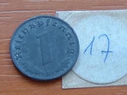 NÉMET BIRODALOM 1 PFENNIG 1941 D, CINK NÁCI,HOROGKERESZTES 17.