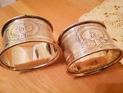 2db antik ezüst német szalvétagyűrű.