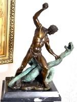 Herkules és Aszklépiosz - mitológiai bronz szobor