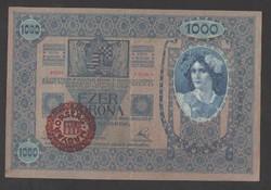 1000 korona 1902.  Magyarország felülbélyegzés!!  Rózsaszín papír!!  EF+++!!  GYÖNYÖRŰ!!