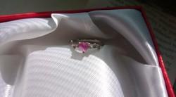 Ezüst gyűrű pink   cirkón kővel