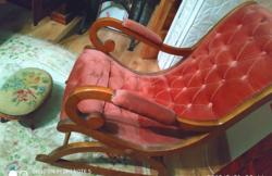 Chippendale / barokk kényelmes hintaszék bársony huzattal