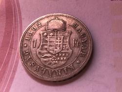 1892 ezüst 1 forint ritkább Fiume címer,szép darab