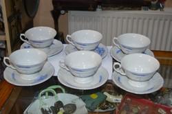 Régi kézzel festett porcelán teás csésze + alj 1 csésze repedt, 1 csorba
