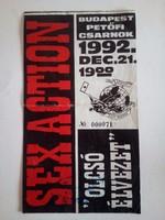Rockrelikvia! Sex Action jegy 1992 Pecsa