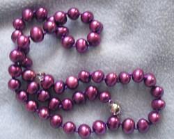 Akoya lila színű gyöngy nyaklánc 8-9 mm szemek