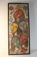 Retro festmény, női fejek