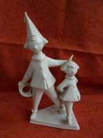 Hollóházi porcelán art deco bohóc figurák