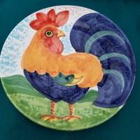 Nagy méretű, olasz kerámia tányér, kakasos dísztányér