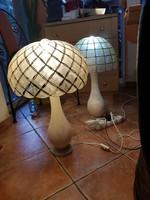 2 db antik, márvány állólámpa,frissen drótozva,Tiffany stílusú kagylóhéj búrával,15 kiló össztömeg!