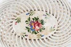 Hollóházi riolit kosárka - nagy méret! - asztalközép kézifestésű rózsa mintával