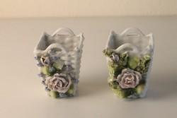 2 db bisquit (biszkvit) porcelán váza, virágtartó, kaktusz kaspó
