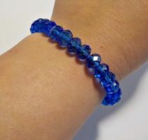 Fazettált kék üveg gyöngyös karkötő