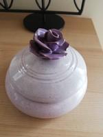 Lila rózsás kerámia ékszertartó