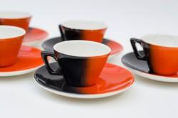 Gránit Kispest 5 személyes mokkás szett - piros fekete retro art deco