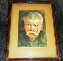 Antik jelzett eredeti akvarell festmény