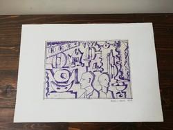 Korényi Attila kortárs festőművész tollrajz keret nélkül1976. Csavargyári életkép 35x25 cm