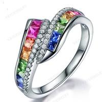 Mutatós gyűrű színes kövekkel 8-as (57-es)  ÚJ