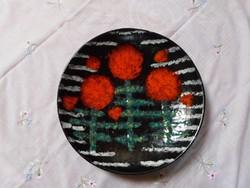Iparművész kerámia falitál, dísztál - Bodrogkeresztúr (retro fekete tál, falidísz)