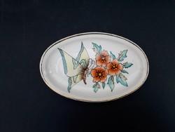 Zsolnay pillangós aranyozott gyűrűtartó tálka, lepkés virágos, tavaszias pajzspecsétes porcelán