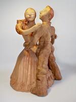 Táncoló pár kerámia szobor , közel fél méteres kerámia
