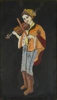 0W043 Kivarrt selyemkép legény hegedűvel
