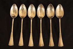 6db Ezüst Mokkáskanál 11,5cm 77g Kávéskanál Bordás Angol Fazon MB Monogram Kiskanál
